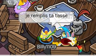 Billy remplit une tasse