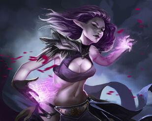 Chaldéan aen Faiyndal (Dark Elf Sorceress by Stephanieboehm on DeviantArt)