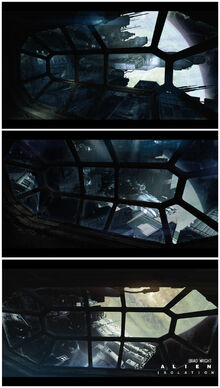 Alien Isolation Concept Art BW technical docking 03