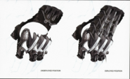 Power Punch glove undeployed and deployed positions
