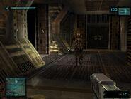 Using USM pistol against Alien in game