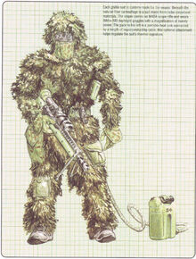 Scout-sniper in ghillie suit with M42A
