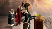 Korra addressing the Southern Water Tribe
