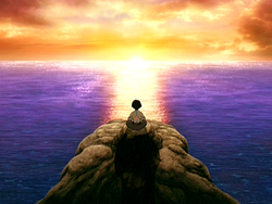 Aang meditating during the summer solstice