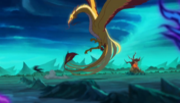 Espíritu pájaro dragón atacando a Unalaq
