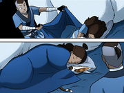 Sokka covering Katara with a blanket