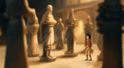 Jinora looks at a monument Aang