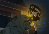 Envy Kicking Alphonse While Telling Him How Many Souls His Stone Has