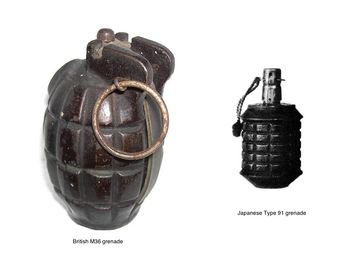 British M36 and japan type 91 grenades