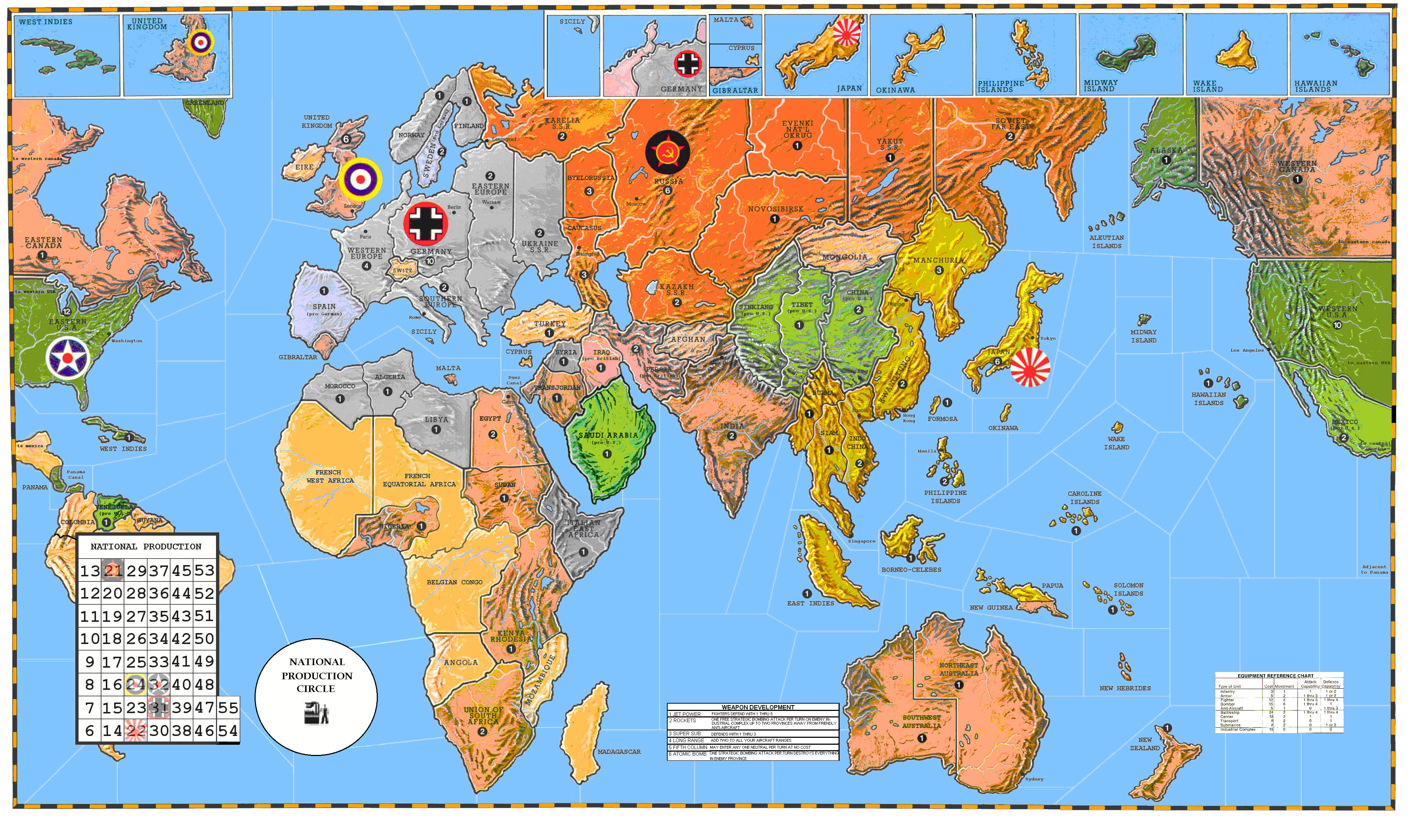 A color map of the world, suitable for playing Axis & Allies, similar to the one above