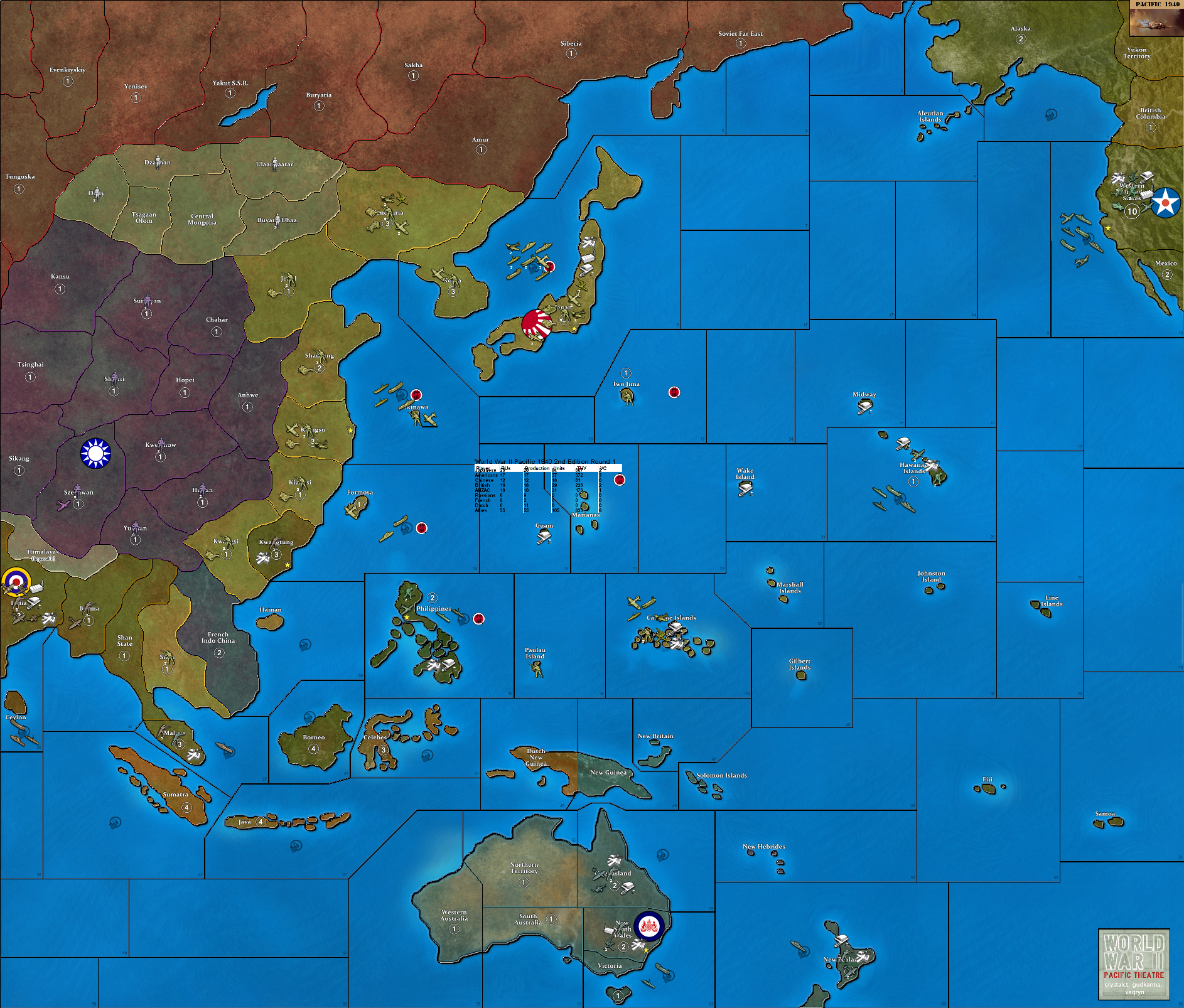 Axis And Allies Pacific Map World War II Pacific 1940 2nd Edition | Axis & Allies Wiki