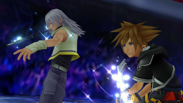 Riku and Sora team up in Kingdom Hearts.