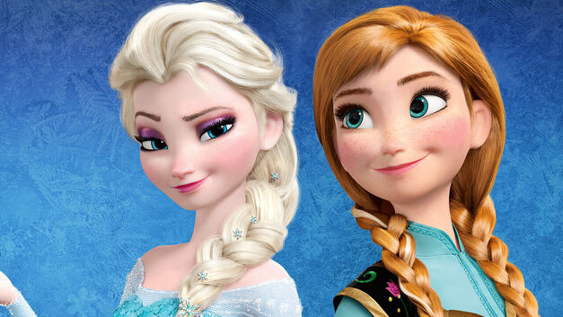 Disney characters from Frozen Ana and Elsa
