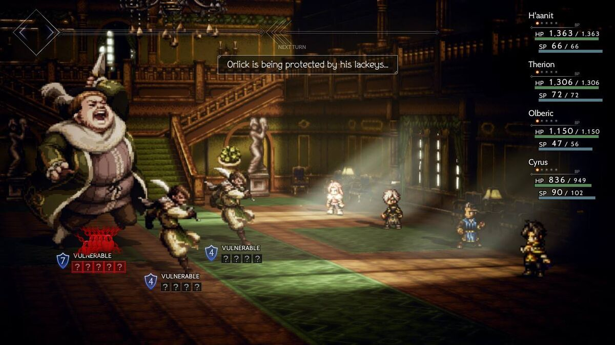 Octopath Traveler battle