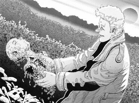 Ido pulls Alita out the trash in the manga