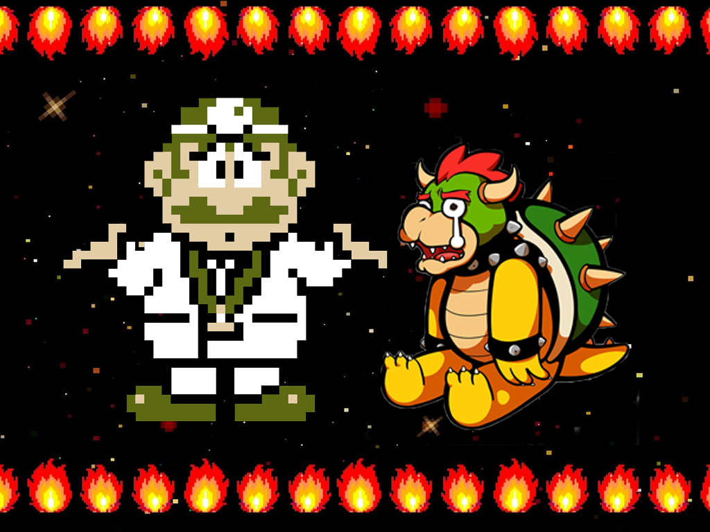 Doctor mario shrugs next to a crying Bowser