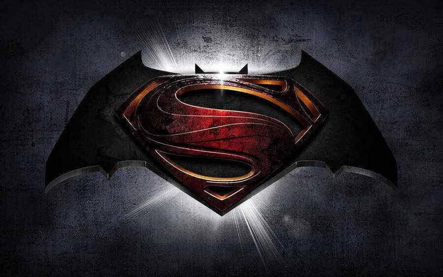 Batman v Superman overlapping logos