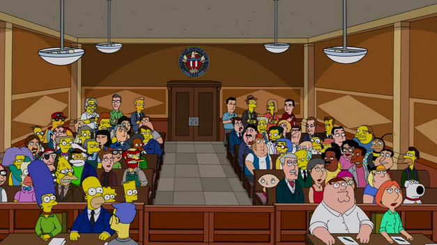 Family Guy Simpsons courtroom