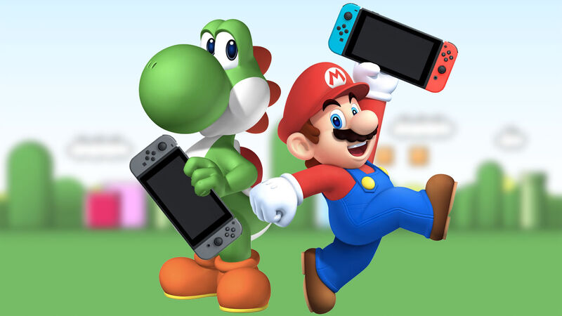 Mario and Yoshi with Switch