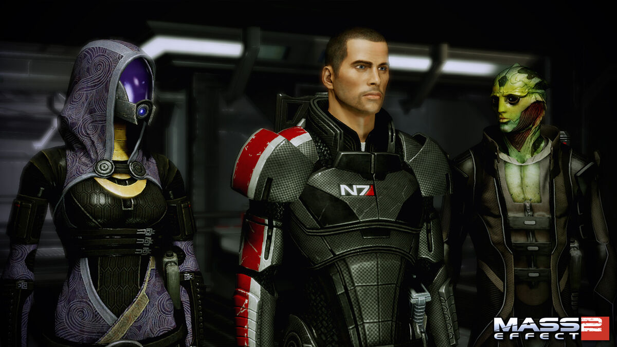 Tali, Shepard, and Thane in Mass Effect 2