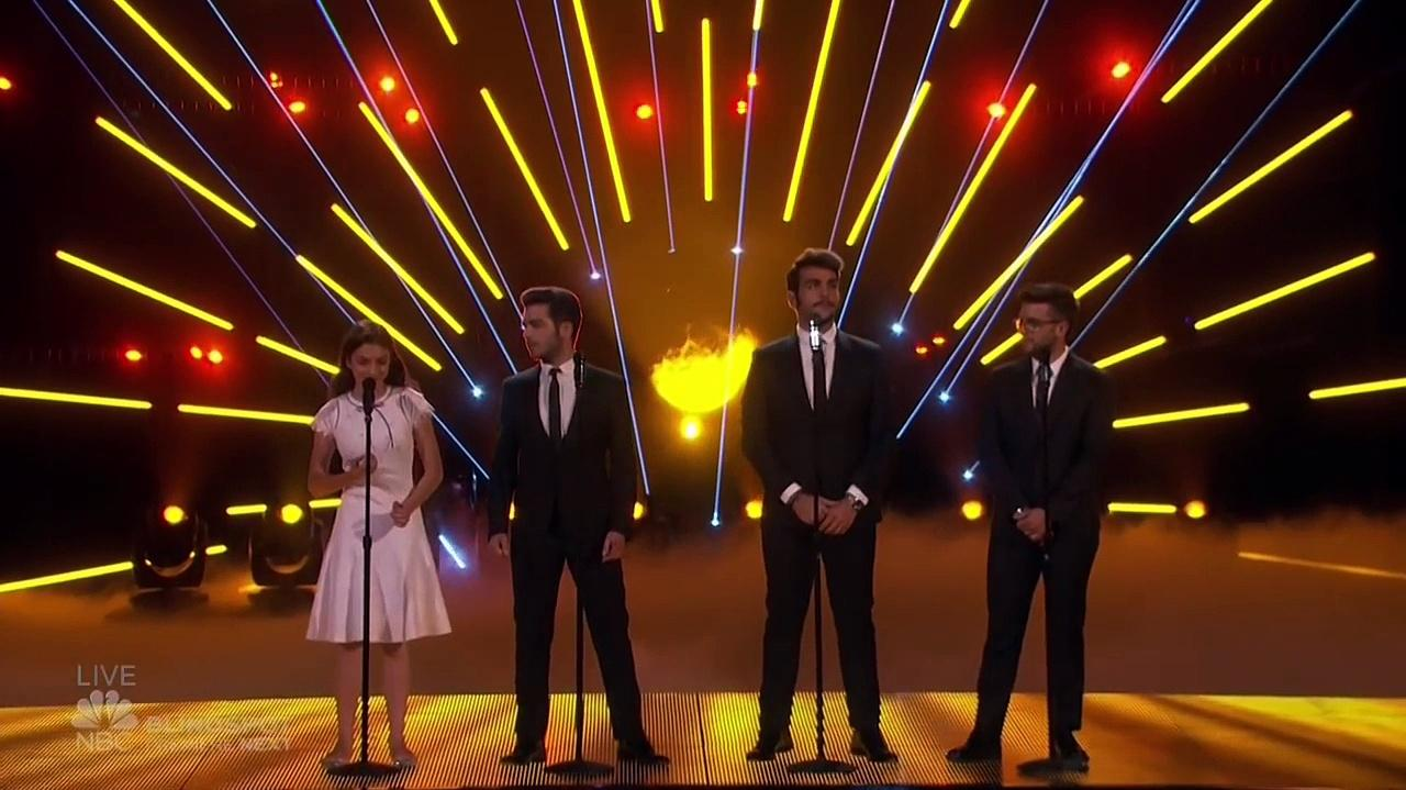 Laura Bretan (Gabara), Sofie Dossi (Godzilla) And Viktor Kee (Hedorah) With Il Volo At The America's Got Talent Finale