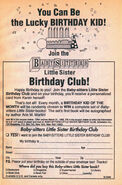 Little Sister Birthday Club bookad from BLS 19 1stpr 1991