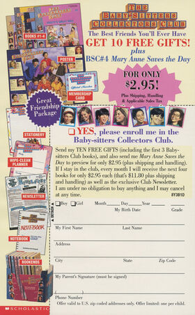 Baby-sitters Collectors Club ad circa 1998 from book 119