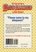 Baby-sitters Little Sister 9 Karens Sleepover back cover