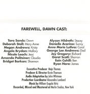 Baby-sitters Club 88 Farewell Dawn audio tape J-card back