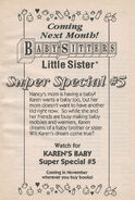 Super Special 5 Karens Baby bookad from BLS 33 1stpr 1992