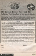 BSC Friends Forever Getaway Sweepstakes bookad from FF SS1