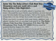 Neat Boy Giveaway contest from summer 1992 Fan Club newsletter