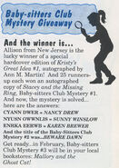BSC Mystery Giveaway winner from winter 1992 Fan Club newsletter