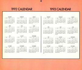 1992-93 yearly calendar