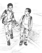 Omar Harris walking brother Ebon to school Colman1-2