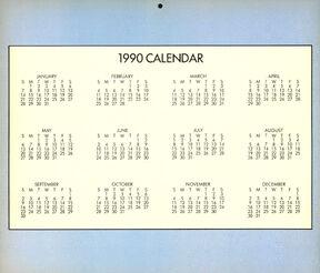 1990 yearly calendar
