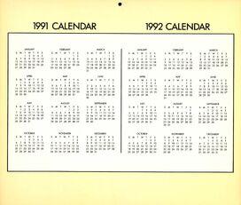 1991-2 yearly calendar