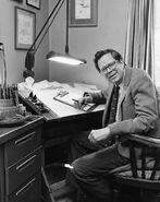 Henry Martin at drawing table Princeton 1982