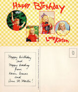 Little Sister 07 birthday card from Karen front and back