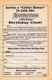 Little Sister Birthday Club bookad from 43 orig 1stpr 1991