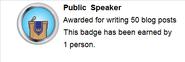 Public Speaker (earned hover)