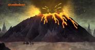 The volcano erupting