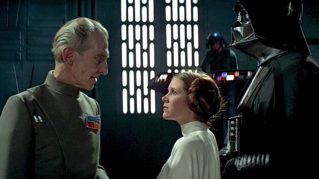 Tarkin, Leia, and Darth Vader aboard the Death Star.