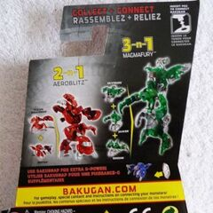 The back of a Baku Sky Raiders packaging, showing off Aeroblitz and Magmafury
