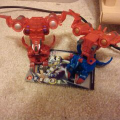 Crimson and Pearl Helix Dragonoid with a wrong DNA code Deluxe Silver JetKor and Aquos Helix Dragonoid with Copper JetKor