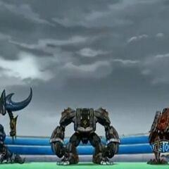 Venexus, Smasheon, and Deezall landing in Bakugan Interspace