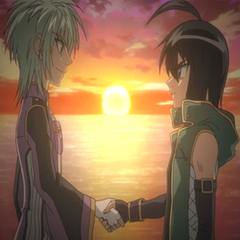 Shun and Ace shake hands before departing