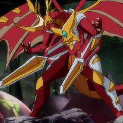 Blitz Dragonoid equipped with Axator Gear in Bakugan Form