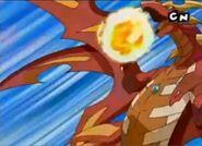 Draggonoid używający sueprmocy Płonący Smok