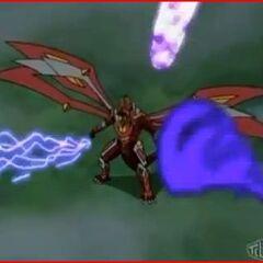 Titanium Dragonoid getting hit by <b>End Guardner Alpha</b>